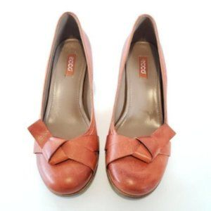 Ecco Leather Brown Bow Tie Heels Shoes Size 9.5